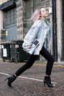Black-h-m-boots-dark-gray-cigarette-levis-jeans-periwinkle-vintage-jacket