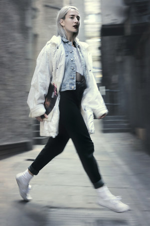 denim thrifted jacket - parka vintage coat - bumbag vintage bag