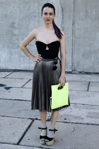 pleated H&M Trend skirt - neon H&M bag - silver H&M Trend socks