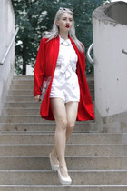 white shoulder pads thrifted shirt - red cape thrifted jacket