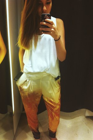 white casual Zara shirt - light orange Zara pants