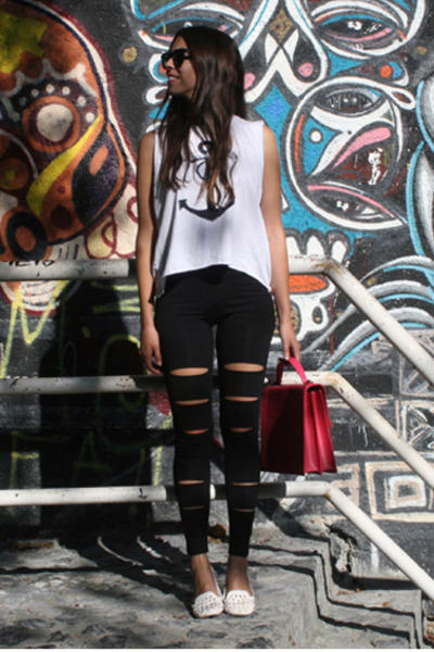 black PERSUNMALL leggings - bubble gum Louis Vuitton bag - white Topshop loafers