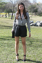 black OASAP shorts - black PERSUNMALL blouse - black Forever 21 heels