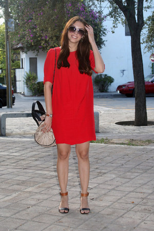 red H&M dress - nude Zara bag - charcoal gray Mango sunglasses