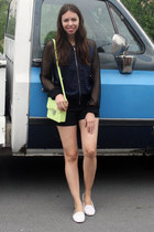 navy H&M jacket - lime green H&M bag - black H&M shorts - white Topshop loafers