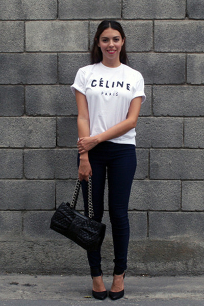 white Brian Lichtenberg t-shirt - black Moschino bag - black Forever 21 heels