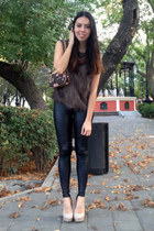 charcoal gray Louis Vuitton bag - black Forever 21 leggings