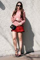 coral Zara sweater - crimson Guess shoes - black Michael Kors bag