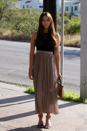 light brown Express skirt - black Atmosphere top - black Steve Madden sandals