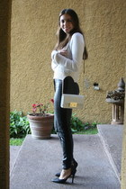 black H&M pants - ivory Michael Kors bag - black Forever 21 heels