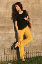 mustard Zara pants - light brown Souvenir from StTropez bag - black H&M t-shirt