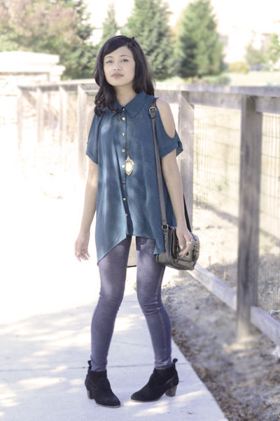 green Forever21 blouse - Mossimo boots - jean jeggings Love Culture tights
