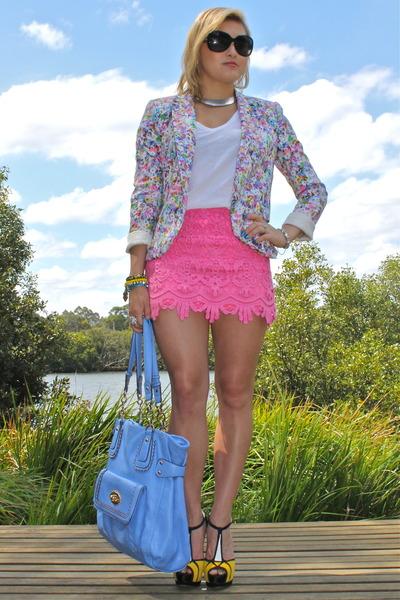 Zara blazer - Forever New bag - MIKA & GALA skirt - Siren heels - Dotti t-shirt