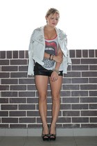 black Neon Hart shorts - white lauren moshi top - black Zu Shoes heels