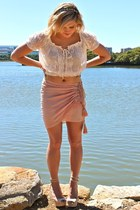 light pink Aje skirt - off white Forever New top - Windsor Smith heels