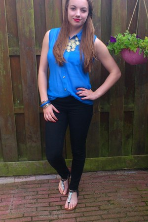 blue Blouse blouse - black jeans - gold bracelet - gold necklace - black sandals