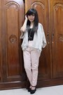 June-julia-shoes-zara-pants-gaudi-top-topshop-cardigan-forever-21-neckl