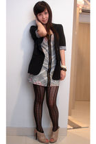 black blazer - gray dress - black leggings - brown shoes
