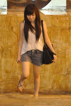 white Cotton Ink top - blue shorts - blue shoes - black Zara