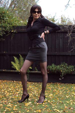 black Garage Clothing blouse - gray supre skirt - black Dollhouse shoes