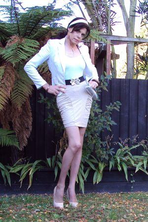 white supre blazer - white supre top - beige supre skirt - beige garage shoes -