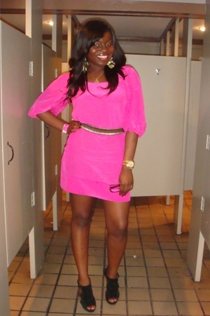 pink Express dress - black Steve Madden shoes - gray Express belt