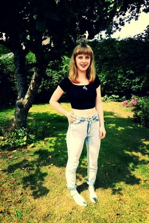 crop H&M top - acid wash H&M jeans - Topshop flats
