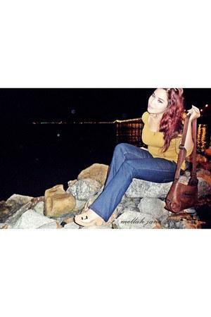 boot -ut Dorothy Perkins jeans - mustard Gap shirt - leather bag Esprit bag - nu