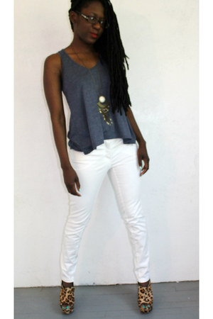 H&M pants - eyeshadow t-shirt - H&M necklace - Steve Madden wedges
