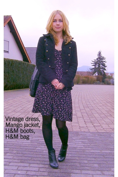 Mango jacket - vintage from spain dress - H&M accessories - H&M shoes - gift acc