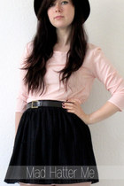light pink Ebay shirt - black H&M skirt