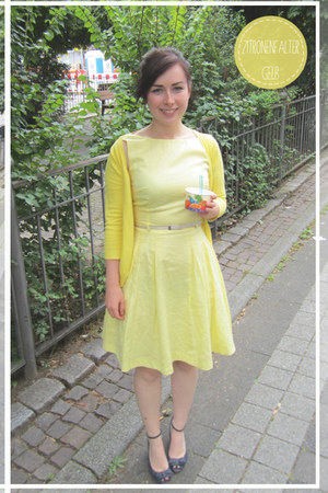 yellow Mango cardigan - light yellow Orsay dress - eggshell Orsay belt
