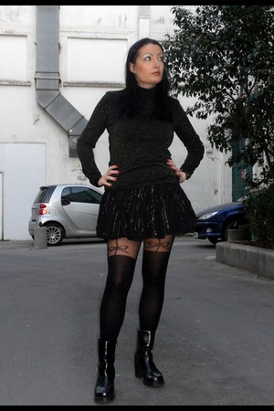 black San Marina boots - black asos tights - black H&M skirt - black H&M top