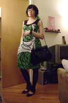 Marimekko dress - aa tights - Hayden-Harnett purse - accessoire shoes