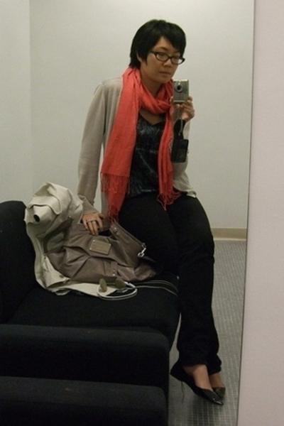 mint by jodi arnold sweater - EDUN dress - scarf - Joes Jeans pants - Mia shoes