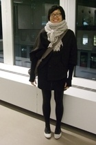 H&M scarf - urbn coat - H&M dress - camper shoes - Marc by Marc Jacobs accessori