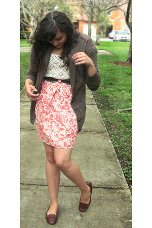 carrot orange Anthropologie skirt - brown cotton Target cardigan