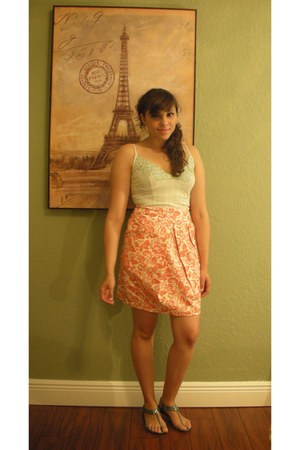 carrot orange Anthropologie skirt - white floral detail Rampage top