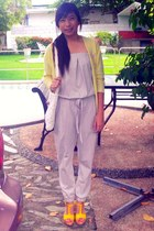 white bag - silver Uniqlo romper - yellow wedges - yellow cardigan