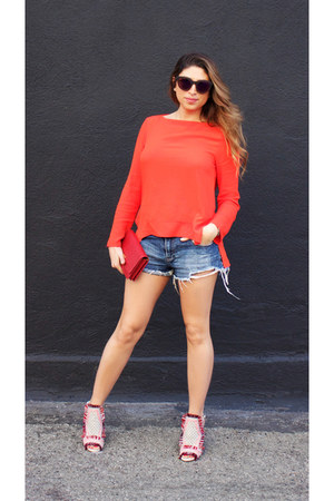 red Zara blouse - ruby red leather Prada bag - TOMS sunglasses