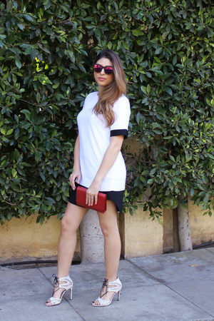 ruby red Prada bag - ruby red TOMS sunglasses - white Dolce Vita heels
