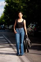 blue palazzo H&M jeans - black leather Zara boots - black Mango jacket