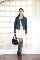 black Mango jacket - black Zara shoes - ivory BLANCO dress