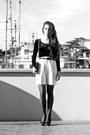 Ivory-vintage-shorts-black-zara-heels-black-vintage-top-black-zara-belt