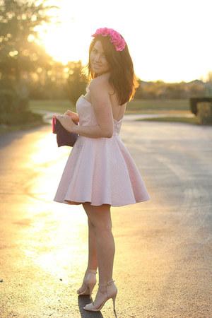 light pink sweetheart Forever 21 dress - deep purple Forever 21 purse