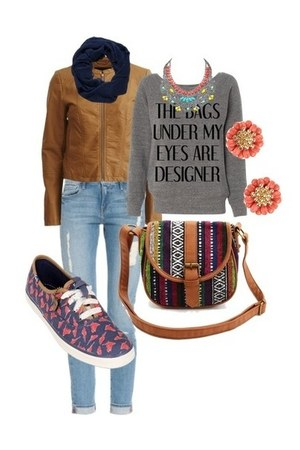 necklace - jeans - jacket - sweater - earrings - sneakers