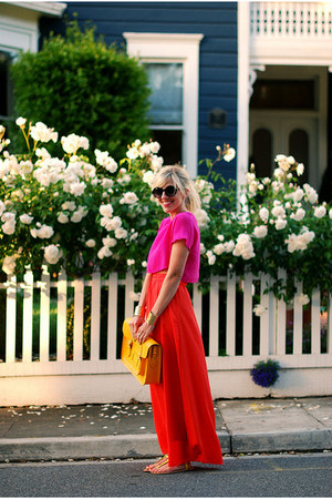 bag - hot pink crop blouse - yellow t-strap flats - hot red maxi skirt