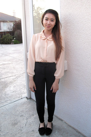 peach sans souci shirt - black riding pant American Apparel pants