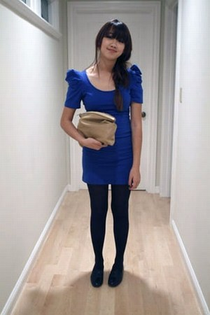 blue Forever 21 dress - black Target tights - camel biege suede American Apparel
