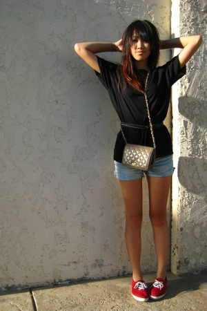 beige purse - red Keds shoes - black Kenneth Cole shirt - blue Target shorts